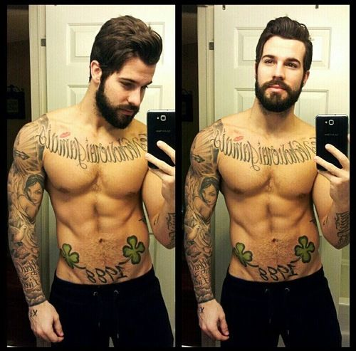 tattooed guys-- Nothing better than a guy with a beard & tattoos.
