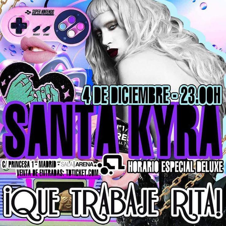 MADRID. Como una editorial una top nuestra Host: SANTA KYRA lo dará todo con nosotros en el DELUXE Que trabaje Rita! NAVIDAD este DOMINGO 4 DICIEMBRE desde las 23H en sala ARENA con FÓRMULA ABIERTA MS NINA. SALA POP. SALA HOUSE y un montón de artistas música fiesta y sorpresas.  ENTRADAS ANTICIPADAS RESERVADOS Y LISTAS de ANDY PEOR al WhatsApp 699 405 388 QUE TRABAJE RITA!  SALA ARENA (Antigua Heineken/Marco Aldany)  C/ Princesa 1