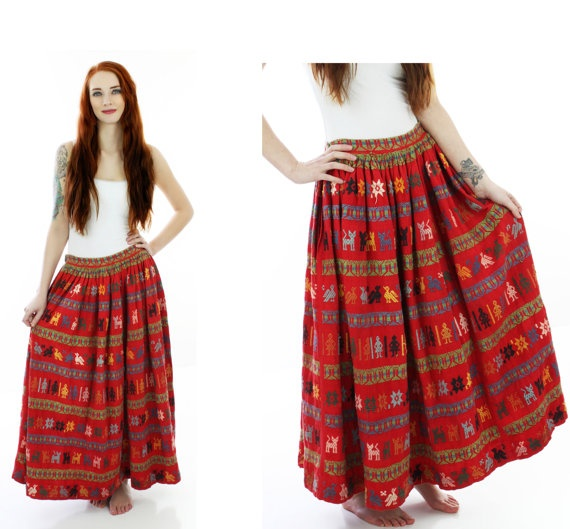 Vintage Mexican Skirt 60s Red Embroidered by neonthreadsdesigns, $35.00