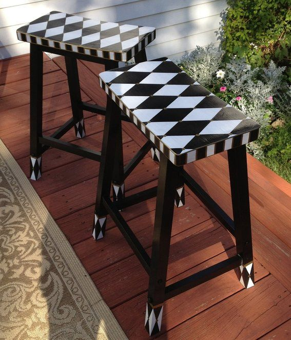 "Custom Made Hand Painted Harlequin 24"" Bar Counter Stool - Saddle Seat - Black And White"