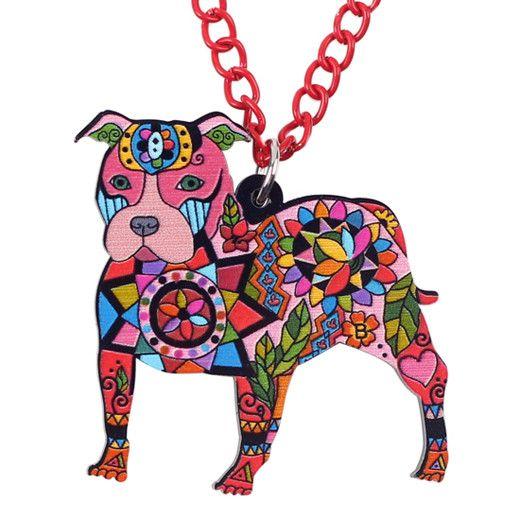 Acrylic Pop Art Pit Bull Necklace