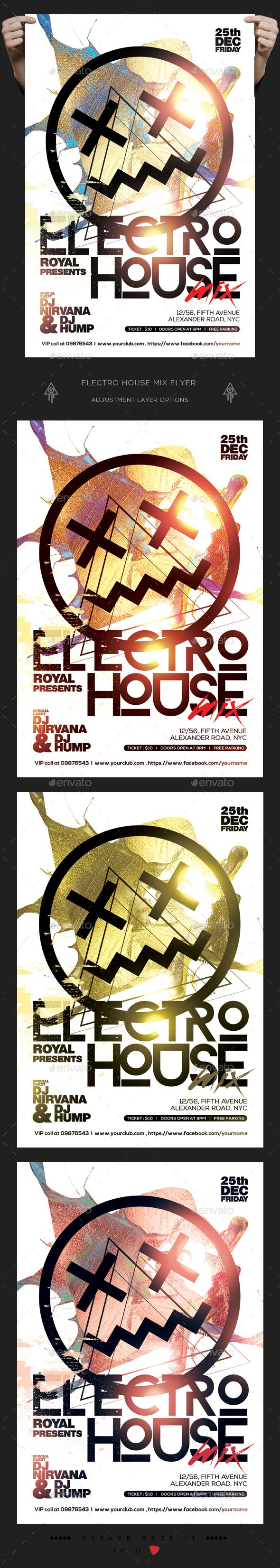 Electro House Mix Flyer — Photoshop PSD #flyer #artistic • Download ➝ https://graphicriver.net/item/electro-house-mix-flyer/19161670?ref=pxcr