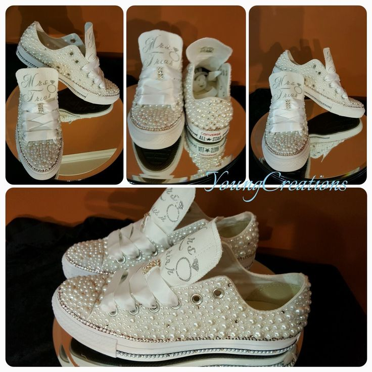Custom bling & pearl converse for the bride