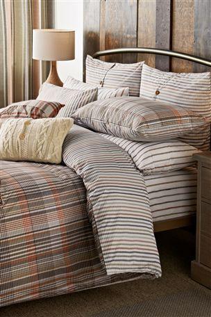 Natural Check Print Bed Set Two Pack