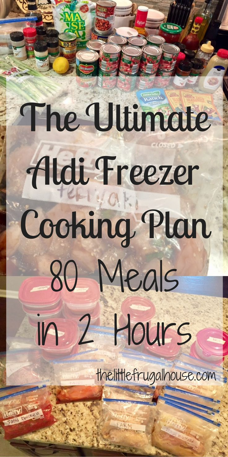 The ultimate freezer cooking plan using mostly Aldi ingredients. Make 80 meals in 2 hours to be prepared for those crazy busy nights!