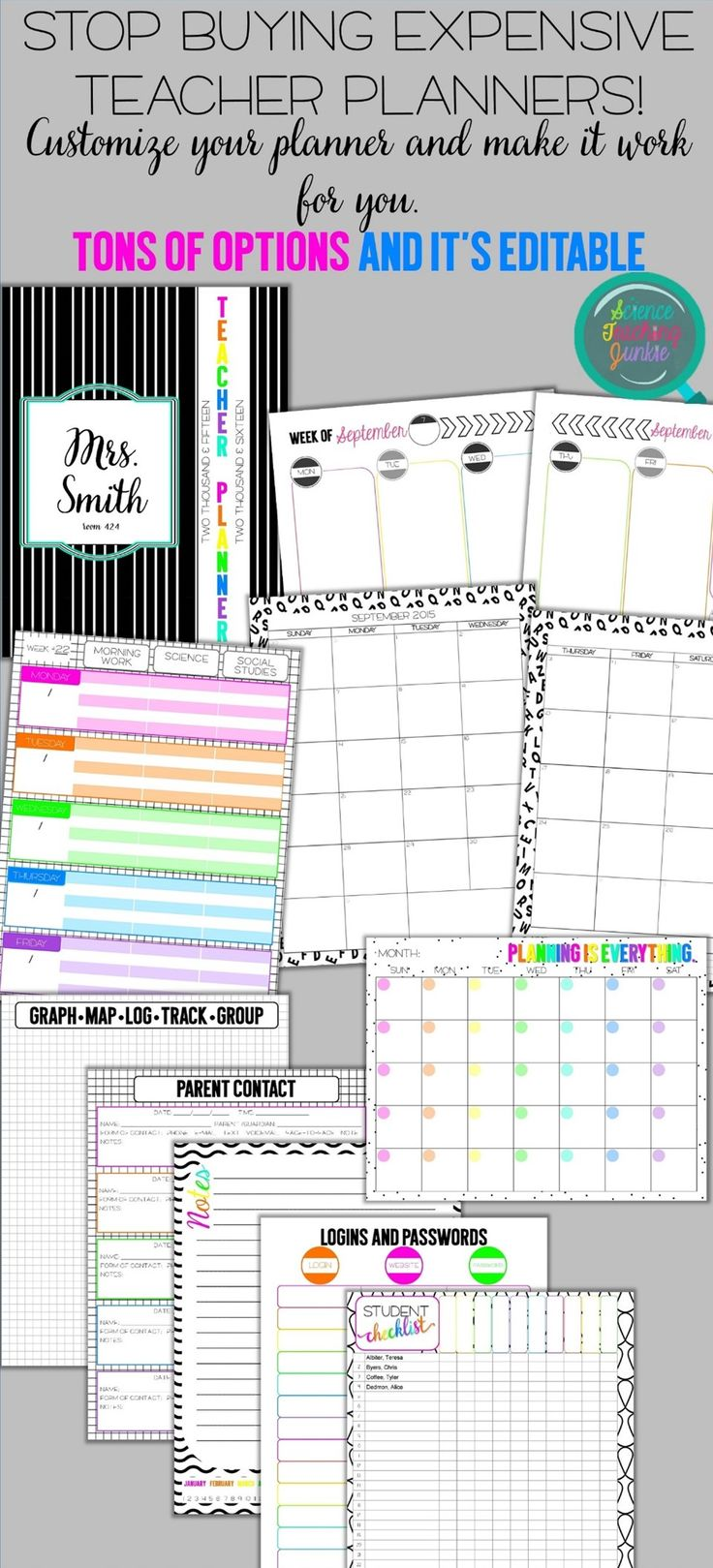 Customize these editable Teacher Planners from the Science Teaching Junkie. Great for secondary teachers (and primary teachers too!)