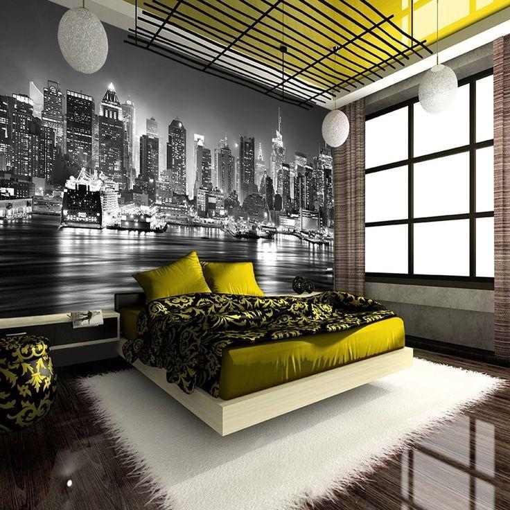 new york city at night skyline view black white on wall murals id=67631