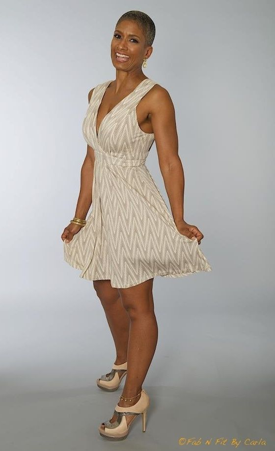 Over 50, Fab and Fit! I think she could get away with this not just because she has a bad body and is gorgeous to boot but because she's probably been married before so no need to still to white. Or even after you remove your dress ..this could be a great reception dress!