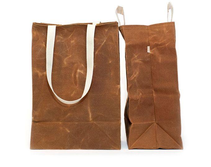Extra grote markt zak / / gewaxt Canvas tassen / / herbruikbare Grocery Bag / / tas bruin