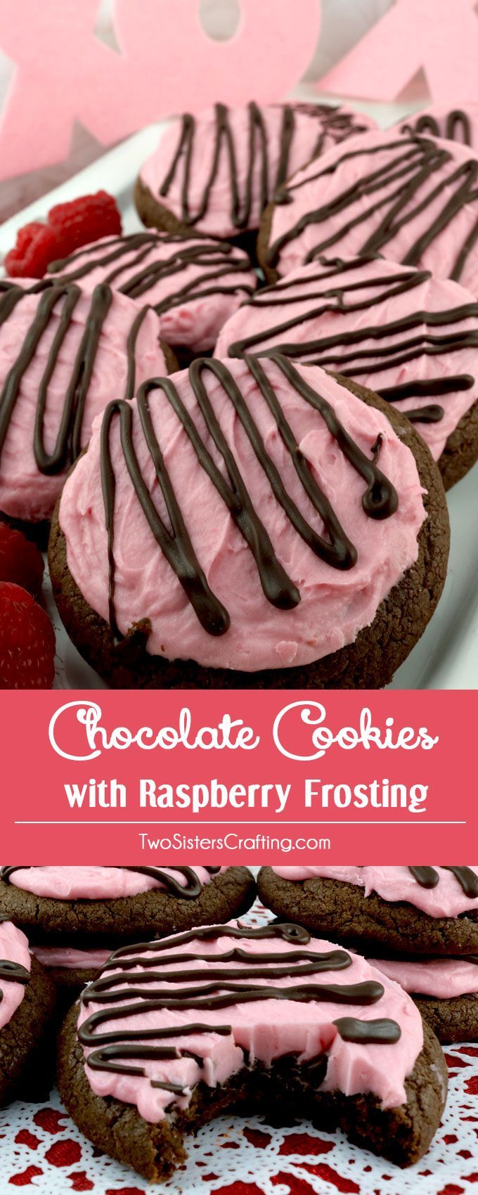 Chocolate Cookies with Raspberry Frosting - sweet, chocolatey and covered with our deliciously creamy Raspberry Buttercream Frosting these yummy frosted cookies are easy to make and a perfect Valentine's Day dessert or treat. Pin this yummy Cookie Recipe for later and and follow us for more great Valentine's Day Food Ideas.