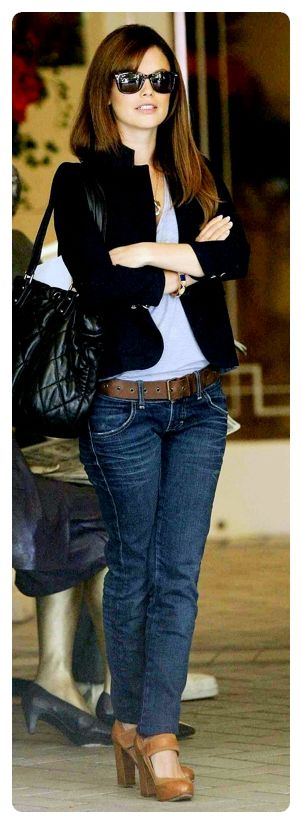 black jacket and jeans