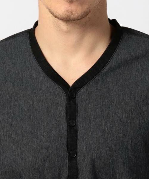 JOSEPH(ジョセフ)の「chambray tricot jersey ヘンリーネック カットソー / Tシャツ(Tシャツ/カットソー)」|詳細画像