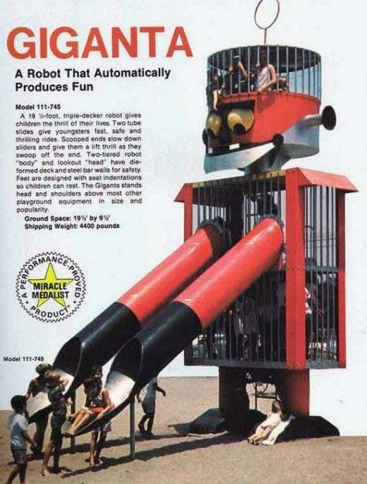omg..this is insane! vintage robot playground equip