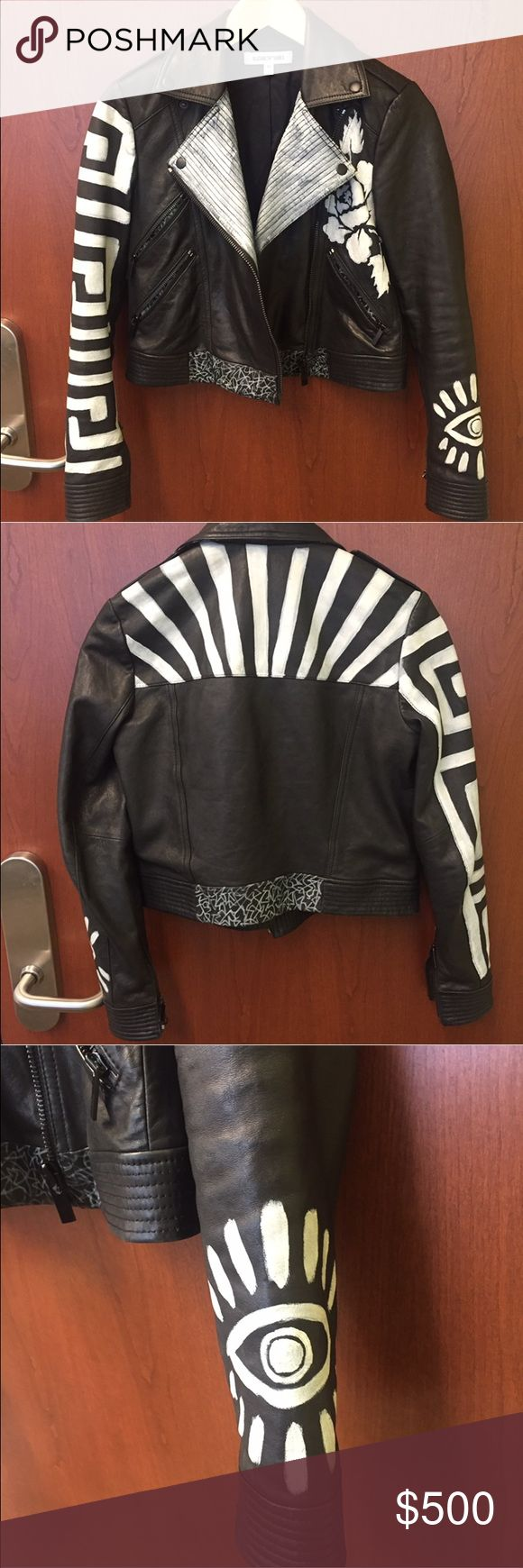Elizabeth and James Limited Edition Leather Jacket Gorgeous and rare, this Elizabeth and James leather jacket could be yours. In mint condition, the cropped piece features painted detailing including flowers, stripes and an evil eye. 100% real leather and super chic!  You are bound to strand out! Elizabeth and James Jackets & Coats
