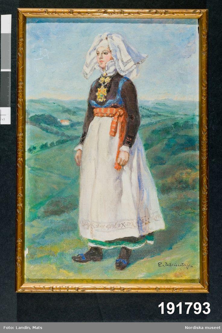 Festdräkt för gift kvinna Färs härad. Den som målade var Emelie von Walterstorff, amanuens och textilexpert vid museet mellan 1903 och 1933.