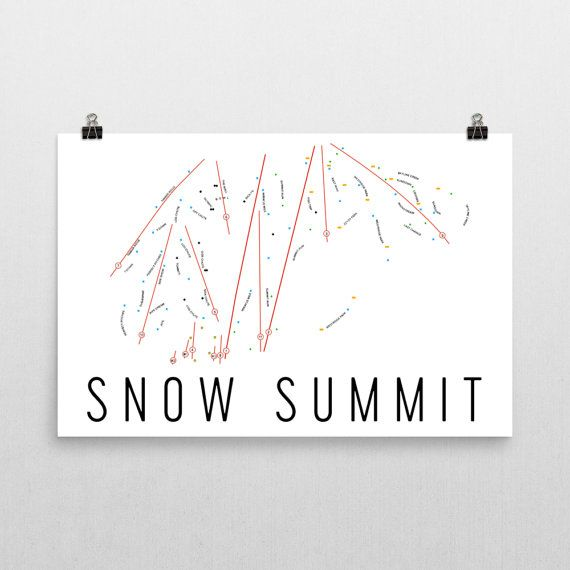 Snow Summit Ski Map Art Big Bear Snow Summit California