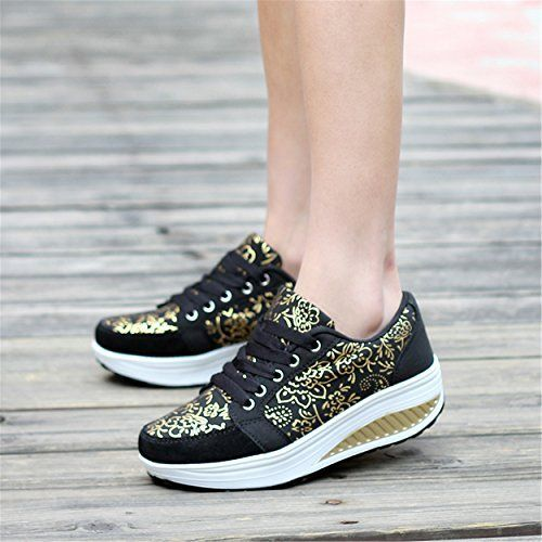 Womens Platform Suede Leather Trainers Breathable Heightincreasing Fitness Work Out Sneaker Running Shoes 85 US 40EU Black >>> Check this awesome product by going to the link at the image.(This is an Amazon affiliate link and I receive a commission for the sales)
