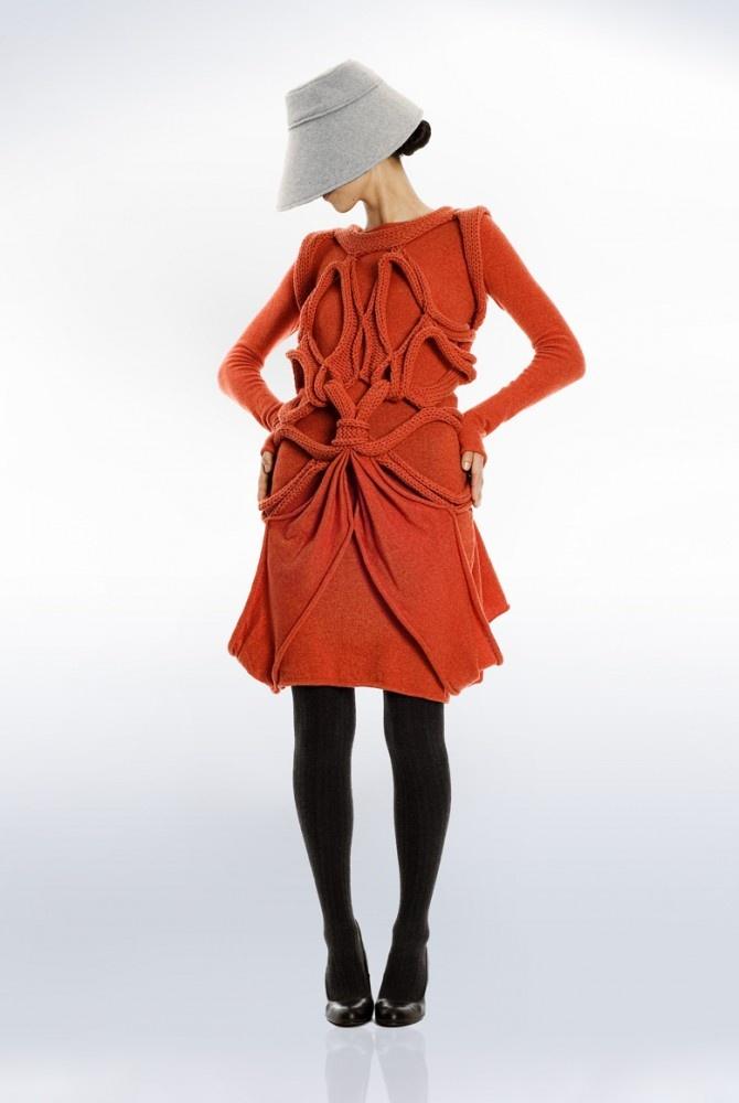 Lovely orange knitted dress by elizabeth Hanmlyn