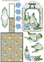 Bloemen Vlinder schildersezel Card