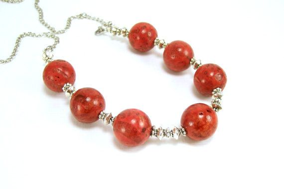 Beaded Jewelry Necklace Red Sponge Coral Red by BobblesByCarol