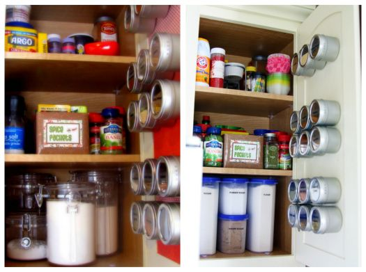 Magnetic containers inside cabinet door for spices
