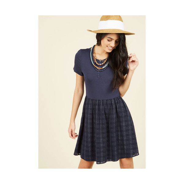 Nautical Mid-length Short Sleeves Twofer You're Gonna Hear Me Rural... (68 CHF) ❤ liked on Polyvore featuring dresses, apparel, blue, fashion dress, a line silhouette dress, sport dress, nautical dresses, short-sleeve dresses and blue short sleeve dress