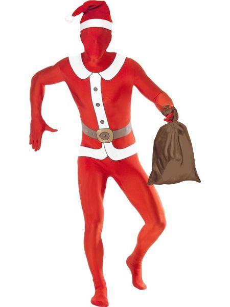 Second Skin Joulupukki asu varustettuna vyölaukulla, piilosepaluksella ja avattavalla hupulla. Tässä asussa kuuluu pitää hauskaa ja täysillä… #naamiaismaailma