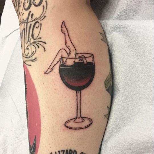 Tattoo by artist Molly! #thevillageink #wine #tattoo #tattoos #toronto #redwine
