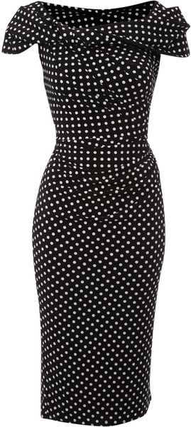 Polka Dot Slinky Knot Dress ~ luv polka dots and luv these older styles. Glad to see it's coming back