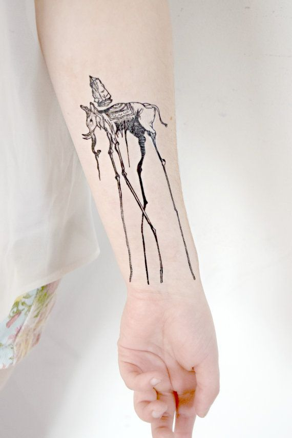 Temporary Tattoo - Salvador Dali, artist, elephant, spring, hipster on Etsy, $8.48