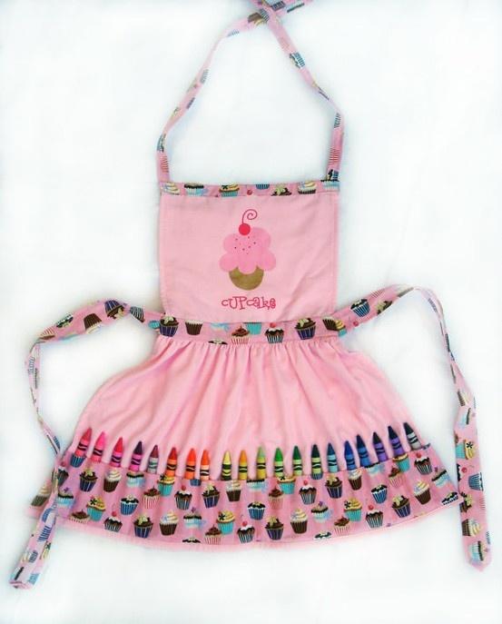 Pink Cupcake Crayon Play Apron