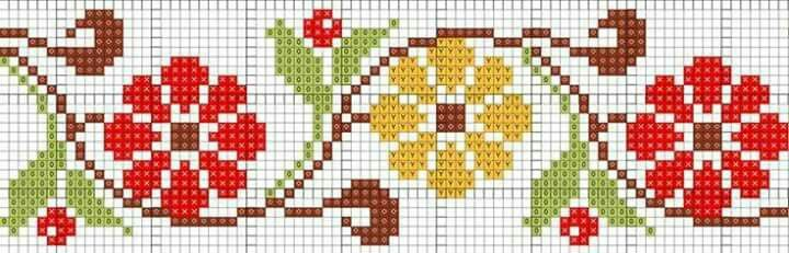 Cross stitch flower border.