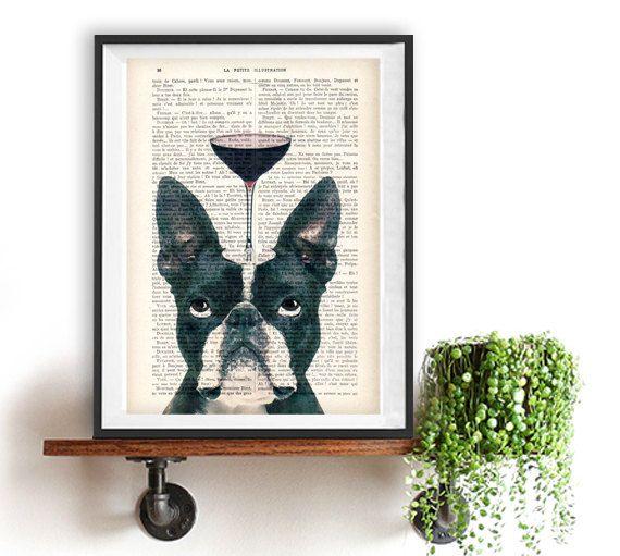 Impression de Boston Terrier Bulldog avec verre de par NotMuchToSay