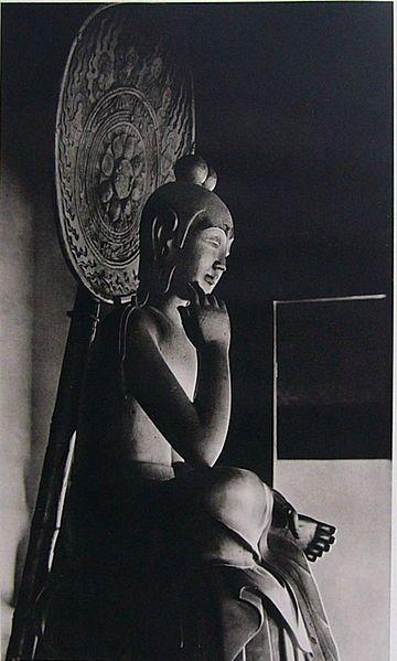 Statue of Bodhisattva in half-lotus position, Asuka period (half of 7th century), National Treasure of Japan 国宝 木造菩薩半跏像