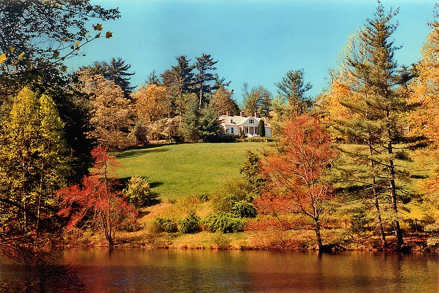 Carl Sandburg Home, Flat Rock, North Carolina  This is a beautiful view looking out of his house towards the pond.