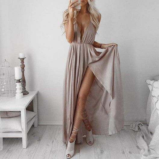 Buy Cheap Sexy Floor Length Deep V-Neck Prom Party Dress with Split Under 100 Prom Dresses 2016 under $89.99 only in Dressywomen.