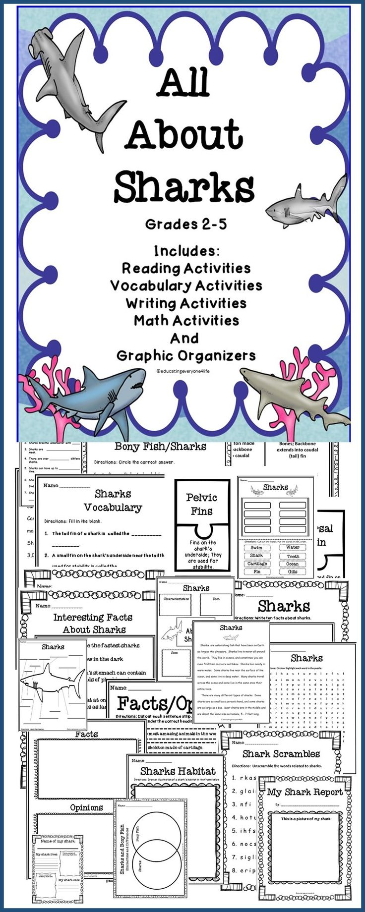 All About Sharks - An integrated unit about Sharks - Includes reading comprehension, writing, charts, graphic organizers, and more. #sharks  #science #reading