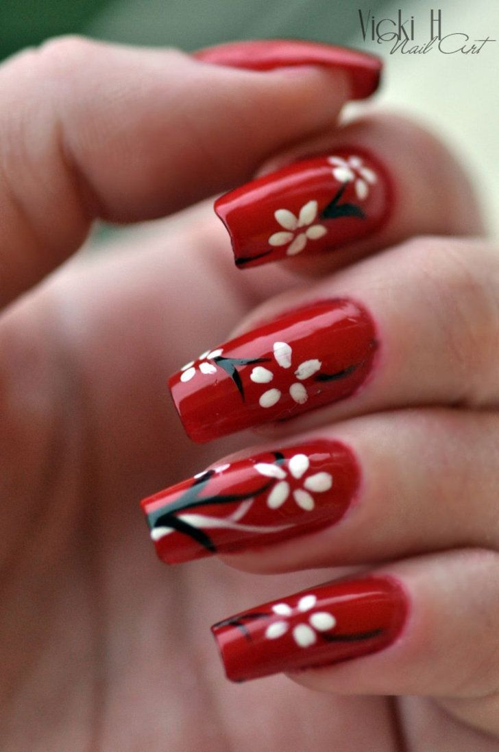 Red Nail Art, Nails Y Flower