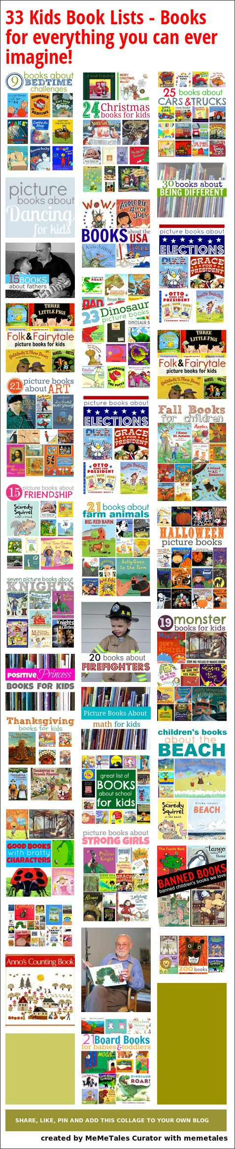 33 Kids Book Lists  - Books for everything you can ever imagine!