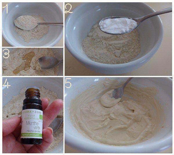 dentifrice maison 1. Mettez 3 grosses cuillères à soupe d'argile blanche dans un bol 2. Ajoutez une petite cuillère à café rase de bicarbonate de soude 3. Ajoutez une cuillère à soupe d'huile de coco (ou 2-3 cuillères à café…) 4. Ajoutez 20 gouttes d'HE de menthe 5. Ajoutez un peu d'eau, trèèèès progressivement, en remuant régulièrement afin d'obtenir une pâte dont la texture vous convient