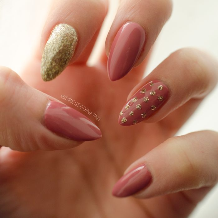 Dressed in Mint: nails. - Indian Roses / Gold Disco