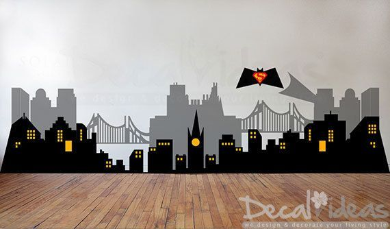City Skyline Decal Gotham City Wall Decal Cityscape Wall Decal