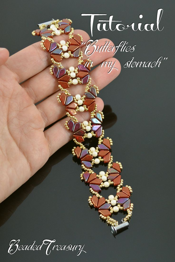 "Beading Tutorial ""Butterflies in My Stomach"" by Iulia Postica from BeadedTreasury #bracelet #bead #pattern #kite"