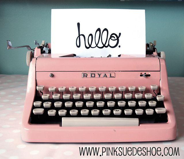 Vintage pink typewriter
