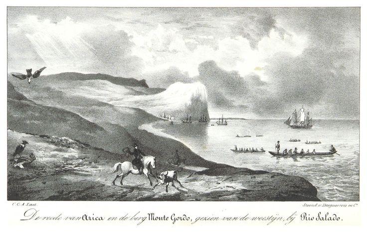 Rada de Arica y el Monte Gordo por Jacobus Boelen. Recorrió sudamerica en 1826