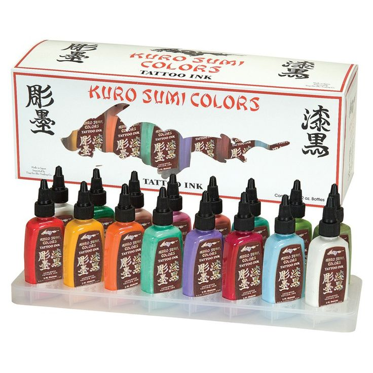 KURO SUMI PRIMARY 16 COLOUR SET 4 1oz - £95.00 #tattooink #kurosumi #magnumtattoosupplies