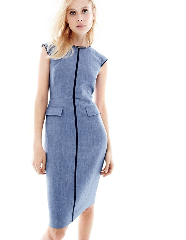 I love J. Crew's classic dresses.  I already own two fitted dresses like this.  When they are sleeveless, I like to wear a jacket or cardigan with them.