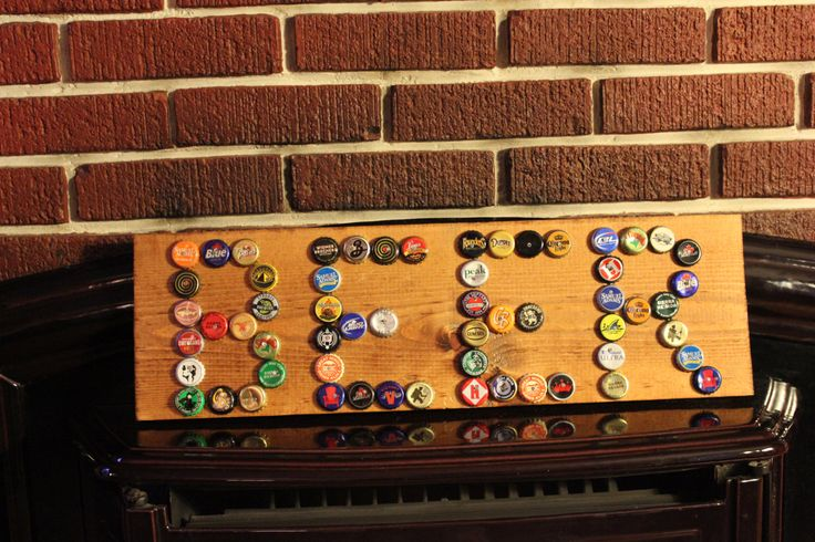 Beer Bottle Cap Sign on Stained Wood. #craft beer #bottlecapart $40.00, via Etsy.