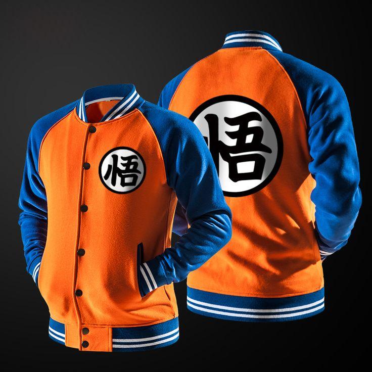 2017 Japanese Anime Dragon Ball Goku Varsity Jacket Coat Mens Autumn Raglan Sleeve Sweatshirt Jacket Fashion Baseball Jackets