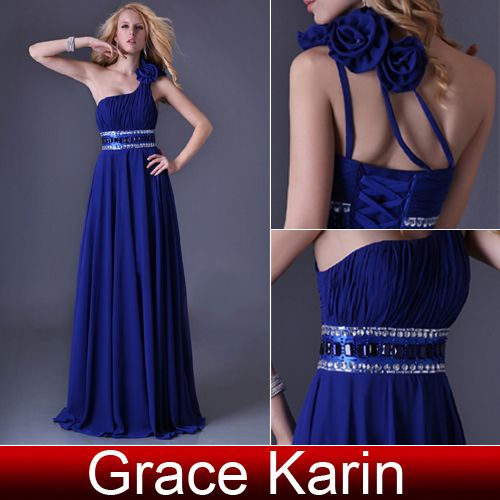 Free Shipping 1pcs/lot Grace Karin One Shoulder Royal Blue Prom Dress Elegant Evening Dress Party CL3516 $59.11